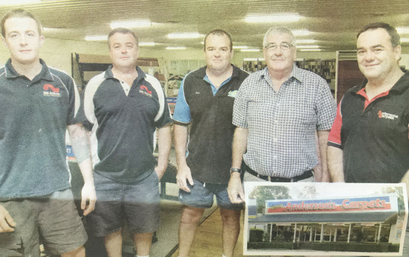 Justin, Michael, Rodney, Robert and Jason Anderson celebrating 30 years of Robert Anderson's Carpets as a locally owned, Narrabri family business.